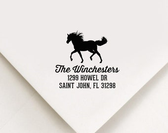 Horse Return Address Stamp, Self Inking Stamp, Equine Stamp, Farm Address Stamp, Farm Stamp, Horse Lover Gift, Equestrian Stamp, Horse Gifts