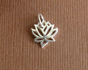 925 Sterling Silver Lotus Flower Charm -- 1 Piece