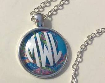 Lilly Pulitzer Inspired Necklace, Gifts For Her, Monogrammed Necklace, Bridesmaids Gifts, Teacher Gift, Necklace, Personalized Jewelry