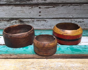 Set of 3 Old Wooden Bowls