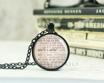 Bibliophile Necklace - Bookworm for Her - Dictionary Jewelry - Book Lover Gift - Book Jewelry - Gift for Librarian - Bibliophile -  (B6111)