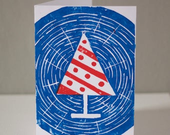 Woodcut Christmas Tree Card