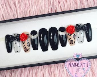 NAILED IT! Hand Painted False Nails - Rockabilly - Sheer Polkadot, Leopard Print