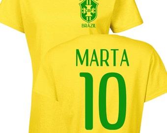 Marta Vieira da Silva Brazilian Women's Soccer Team 2 Sides LADIES Tee Shirt 1184