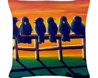 Sunset Crows Fall Folk Art Pillow - Woven Throw Pillow Whimsical Art by Renie Britenbucher
