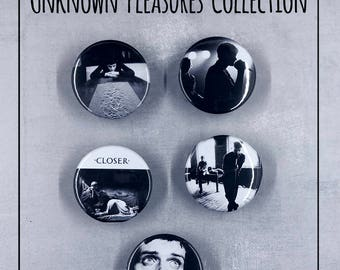 """Joy Division 1.5"""" Button Collection! Unknown Pleasures, Ian Curtis, Goth"""