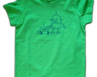 Cute Boy's T-shirt - Tee for boys or girls, Green t-shirt, gift for 2 year old, gift for 3 year old, gift for 4 year old boy, robots, robot