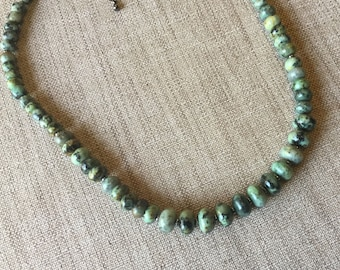 African turquoise rondelles necklace size gradually.
