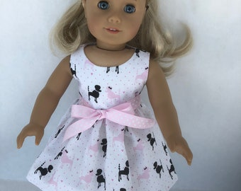 18 inch doll dress made of pink and black poodles, made to fit 18 inch dolls such as American Girl Dolls and others