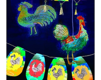 Year of the Rooster ... giclee art print • animal • lunar new year • lantern • light • night • glow • good luck • bird • colorful • evening