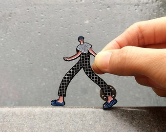 Walking Boy Enamel Pin