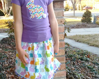 Girl easter bunny skirt, girl easter skirt, girl easter outfit, girl bunny skirt, girl birthday gift, girl easter gift, Easter bunny skirt
