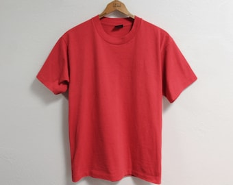 LARGE Vintage 1980s Screen Stars Plain Red T-Shirt