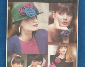 Vintage 1988 Butterick 6654 Bows & Blooms Accessories for Your Hair Hats and Your Wardrobe UNCUT