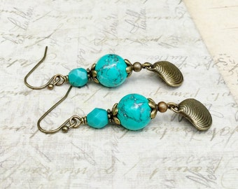 Green Earrings, Turquoise Earrings, Teal Earrings, Teal Green Earrings, Gemstone Earrings, Czech Glass Beads, Shell Earrings, Gifts for Her