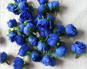 100 pcs Royal Blue Simulation Silk Rose Head Artificial Rose Bud DIY Wedding Garland Corsage Accessory Flower Diameter 3cm