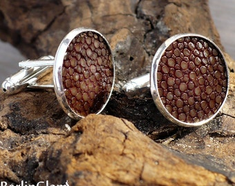 Milk chocolate brown stingray leather / rayskin / shagreen cuff links, large cufflinks