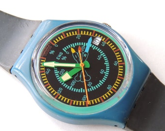 80's Swatch Watch Rotor GS400, vintage swatch watch, watch with date, retro swatch