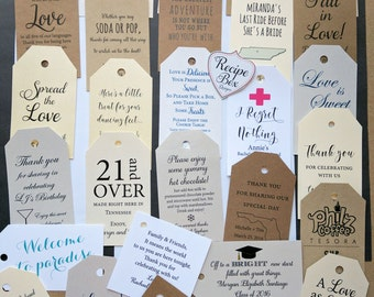 Personalized Tags, Custom Tags Gift Bag Tag, Favor Tags, Custom Tags, Thank you tags, Favors, WeddingFavors, Hang Tags Kraft Tags 2x3.5 inch