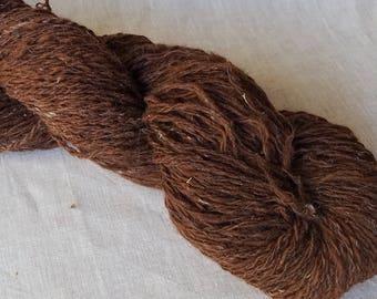 Handspun Natural Yarn - Chocolate Brown Alpaca