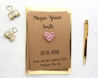 New baby girl card - Personalised new baby card - New baby keepsake card - Brown card