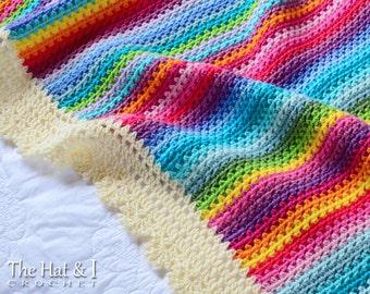 CROCHET PATTERN - Crayon Box Blanket - a colorful crochet blanket pattern, gypsy blanket, rainbow afghan pattern - Instant PDF Download