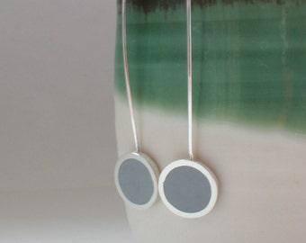 Grey Earrings - Long Gray Drop Earrings - Round Silver Earrings - Minimalist Jewellery - Gift for Sister - Pop Long Drop Earrings