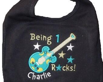 Rockstar Personalized Bib, Guitar Embroidered Bib, Rocker Bib, Monogrammed Rockstar bib