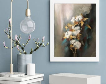 Abstract Realism Cotton Painting, Original Soft Pastels Painting, Modern Botanical Artwork by CanotStop