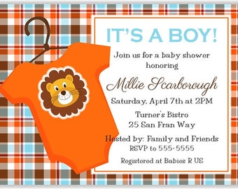 Blue, Orange,  & Brown Plaid w/ Lion Personalized Baby Shower Printable Digital DIY Invitation or Post Card ( Any Wording or Text)