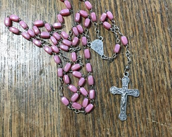 Vintage pink glass bead rosary made in Italy delicate