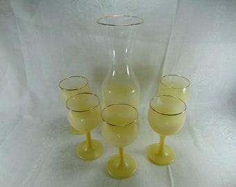 Vintage Yellow Blendo Pitcher, Wine Carafe with 5 Wine Glasses, Decanter Set, West Virginia Glass