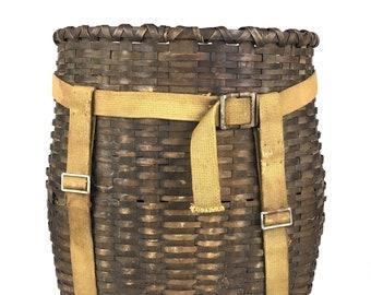 Antique Trappers Basket Original Adirondack Trappers Basket 1930s Pack Basket Vintage Trapper Backpack Ash Trappers Basket