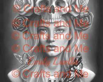 Digital Stamp Shaded - Instant Download - Death's Head - Fantasy Line Art for Cards & Crafts by Artist Emily Luella for Crafts and Me