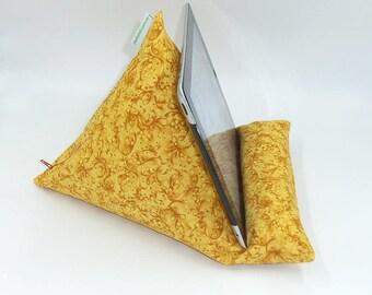 "Tablet, Kindle or Book Bean Bag iPad holder travel stand beanbag ""Mustard Splash"" hand made by Joella Hill Australian Seller"