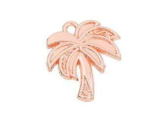 x 1 tropical Palm tree pendant 20 mm gold tone pink.