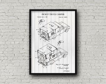 Pickup Truck Camper Patent Print - Pickup Truck Camper Patent Poster - Vintage 1982 Camping Patent Art - Camping Gift - Camping Patent