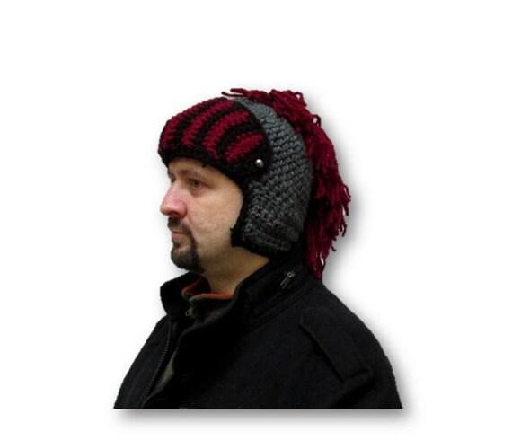 rote Mütze stricken Ritter häkeln Helm Herren Mohawk Hut