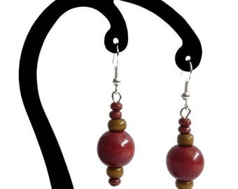 Red and light brown wood earrings