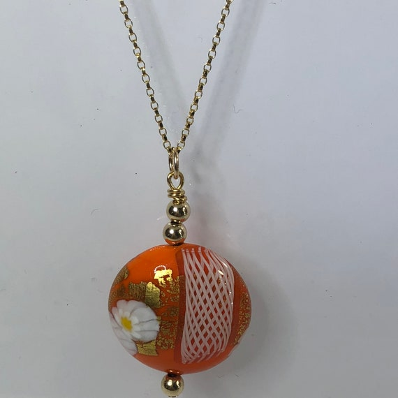 Murano Glass Necklace, Gold Filled Chain, Orange,White, Gold, Round, Zanfirico, Free Shipping, Gift for Her, Murano Glass Pendant, OOAK
