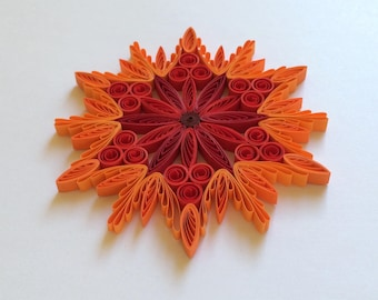 Quilled Snowflakes Paper Quilling Art Christmas Tree Decor Winter Hanging Ornaments Gifts Toppers Mandala Office Corporate Red Orange