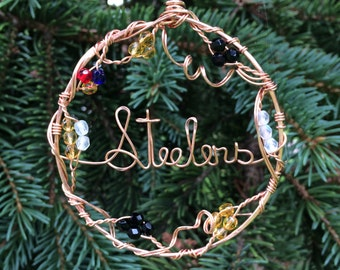 Pittsburgh Steelers Ornament Suncatcher Wire Written Copper Circle