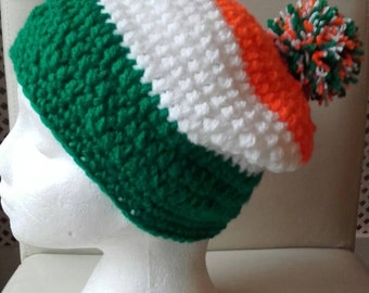 St patrick hat, crochet adult hat, beanie hat,  shamrock hat, slouchy hat, ready to ship