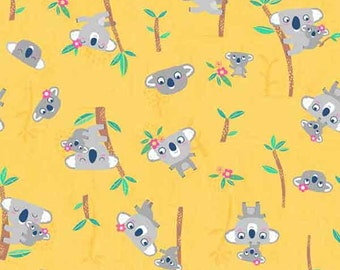Koalas on Yellow Cotton Fabric by Makower from their Flo's Friends Collection, Child's Yellow Koala Patterned Cotton Fabric