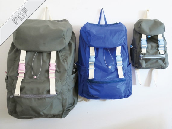 Sewing tutorial with pattern for backpack No. 2 in 3 sizes for