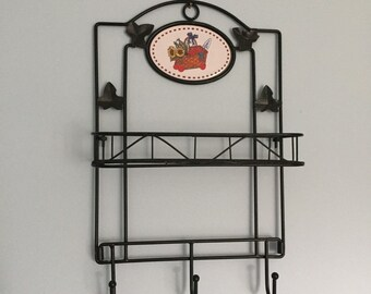 Kitchen or Entryway Vintage Metal Shelf and Hooks Wall Unit