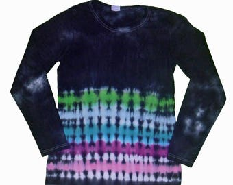 Tie Dye Shirt in Black with Hot Pink, Magenta, Aqua, Light Blue and Lime Green Tie Dye- Girls and Adult Sizes Available