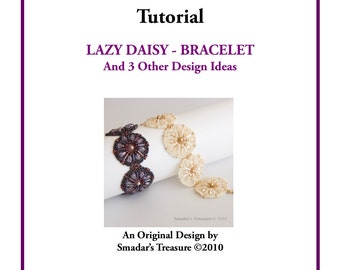 Beading Tutorial, Lazy Daisy Beaded Bracelet Pendant Earrings, Pattern with Tear Drop and Bugle Beads. Beadweaving Beadwork Instructions