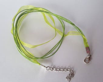 Cord mounted cord and organza Choker
