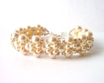 Pearl Bridal Jewelry Bracelet, Wedding Jewelry, Bridal Jewelry, Bridesmaid, Mother of The Bride, Pearl Bracelet, White Pearl or Ivory Pearl